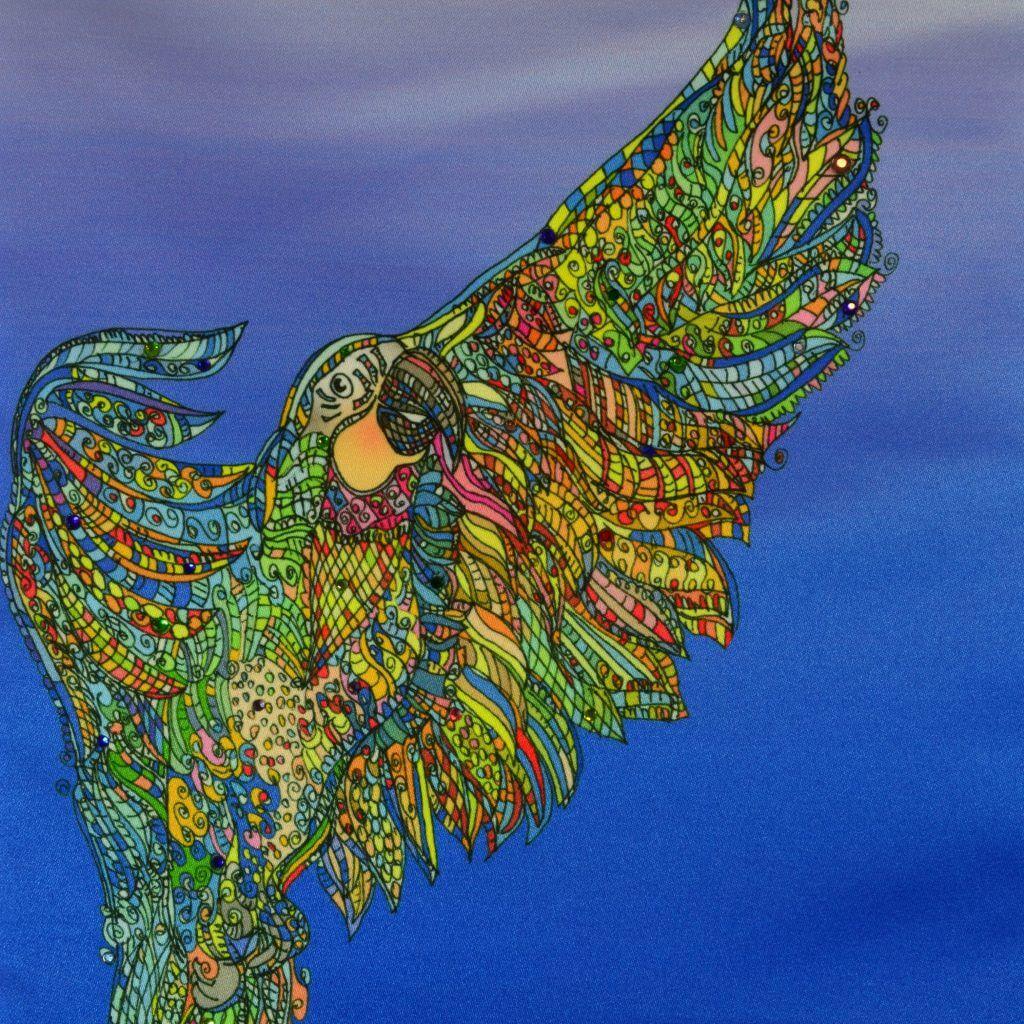 Ein farbenfrohes Detail aus einem Kissen von AN-NA Design. Die Zeichnung stammt von Eva Marie Design für eine Kooperation.