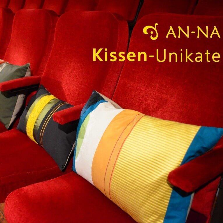 Hier sehen Sie farbenfrohe Kissen-Unikate von AN-NA Design, einer kleinen Kissen-Manufaktur im Bergischen Land.